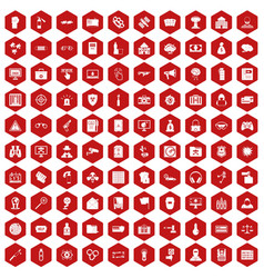 100 hacking icons hexagon red vector