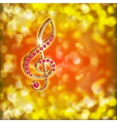 Musical treble clef with precious stones on a vector