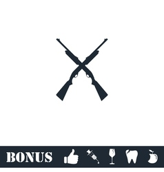 Crossed shotguns hunting rifles icon flat vector image