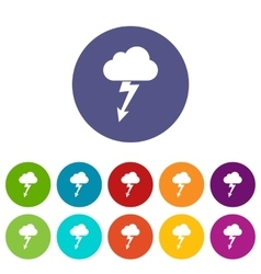 Cloud with lightning set icons vector
