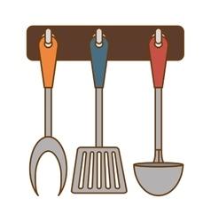 Color rack utensils kitchen icon vector