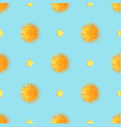 urchins with starts seamless pattern vector image