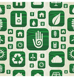 Environmental green icons pattern in organic wood vector
