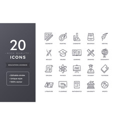 Education and science line icons vector