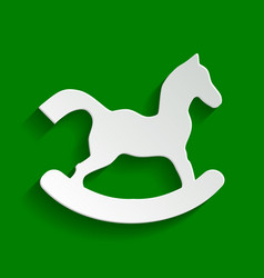 Horse toy sign paper whitish icon with vector