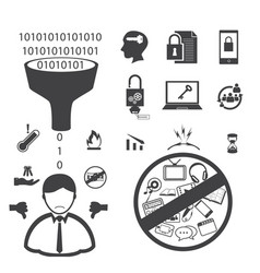 Big data icons set user and customer unsatisfied vector