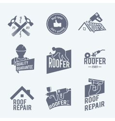Roofer label set grey vector