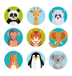 Cute animals in colored round badges vector image