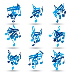 Set of musical notes abstract icons vector