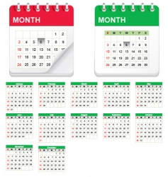 Calender icon set vector