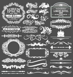 Decorative lines and border elements set vector