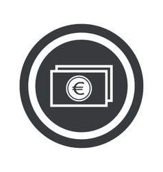 Round black euro bill sign vector