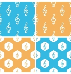 Treble clef pattern set colored vector