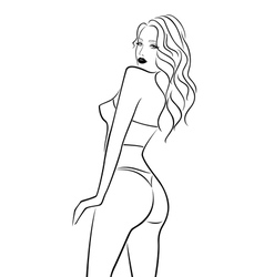 Abstract female half turn back in bikini vector