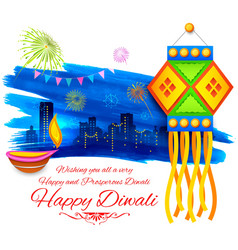 Happy diwali background kandil vector
