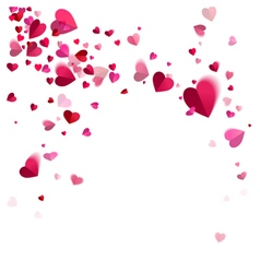 Whirlwind confetti of hearts vector
