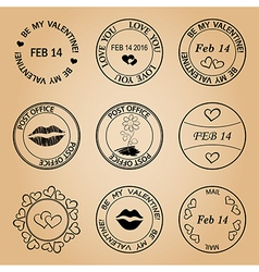 Black post stamps for valentine day - elements vector
