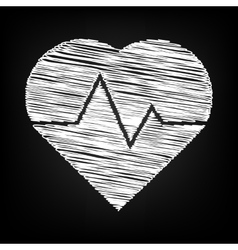 Heartbeat sign scribble effect vector