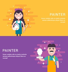 Painter concept male and female cartoon character vector