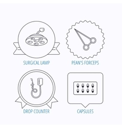 Drop counter capsules and surgical lamp icons vector