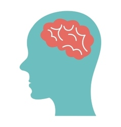 Blue human head on side view and brain vector