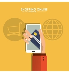 Smartphone and credit card icon shopping online vector