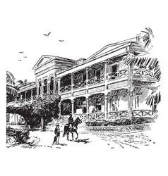 a hospital in honolulu vintage vector image vector image