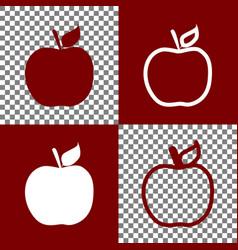 Apple sign bordo and white vector