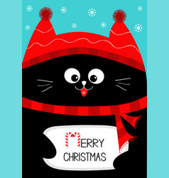 Black cat holding merry christmas text with candy vector