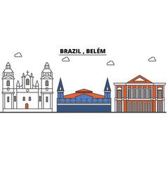 brazil belem outline skyline brazilian flat vector image vector image