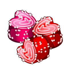 Cakes in form of hearts with confiture vector