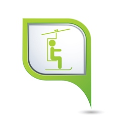 chair lift icon green map pointer vector image