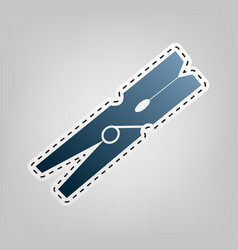 Clothes peg sign blue icon with outline vector