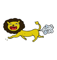 Comic cartoon farting lion vector