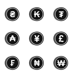 Currency icons set simple style vector