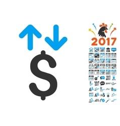 Dollar transactions icon with 2017 year bonus vector
