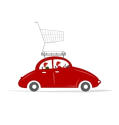 Family traveling by red car with trolley vector