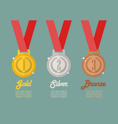 Gold silver and bronze medals infographic vector