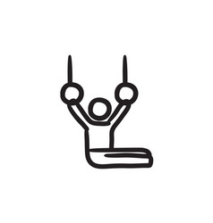 Gymnast on stationary rings sketch icon vector