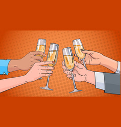 Hands group clinking glass of champagne wine vector