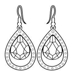 isolated earrings outline vector image