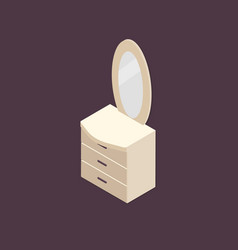 Isometric dresser with mirror vector