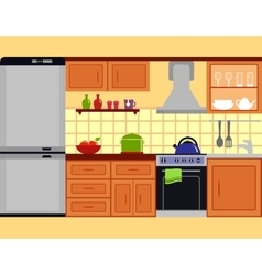 Kitchen room with furniture set vector