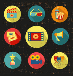 Movie icon setblack versiongrunge with vector