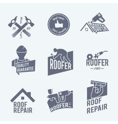 Roofer label set grey vector