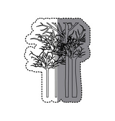 Silhouette trees without leaves icon vector