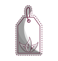 Sticker label with leaves inside vector