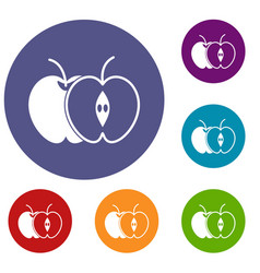 The whole apple and half icons set vector