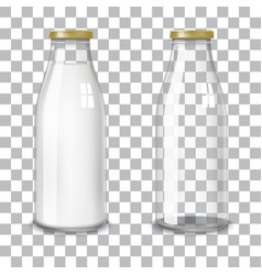 Transparent glass bottles vector