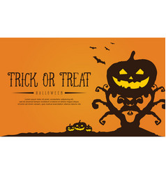 tree and pumpkin background for halloween vector image vector image